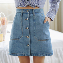 Buy Summer Women Mini Skirts High Waist Sexy Womens Pockets Blue Single Breasted Denim A-Line Skirt for $11.99 in AliExpress store