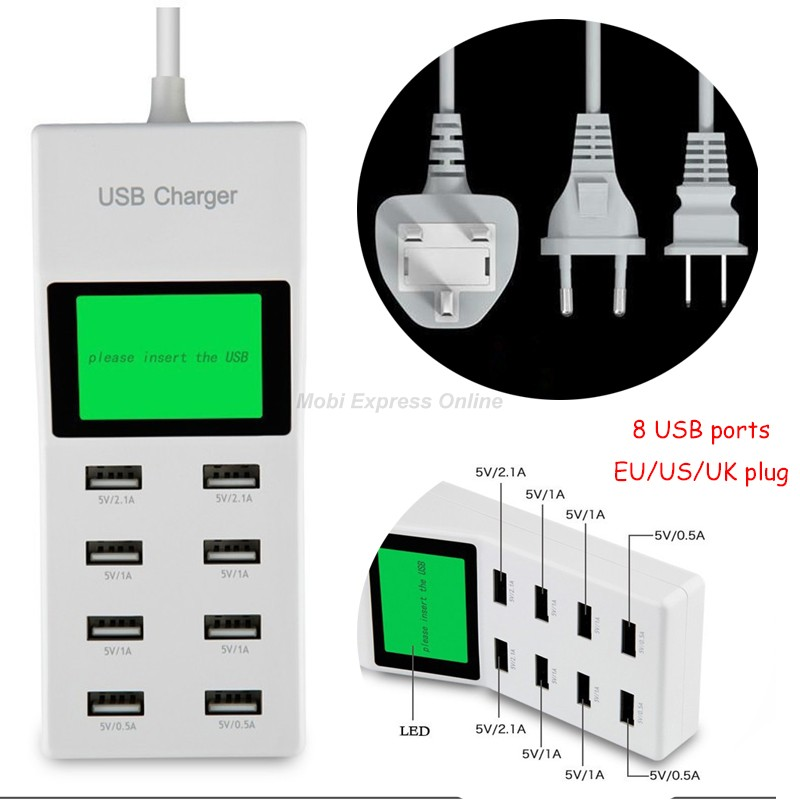 8 USB Port EU/US/UK Plug Fast Charger Smart AC Adapter LCD Display Socket Outlet For Iphone 6 6s SE Plus Lumia 640 950 XL Doogee(China (Mainland))