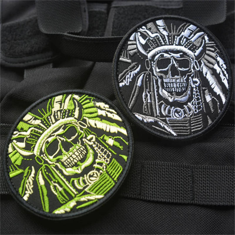 New arrival 1PC green and gray India's death skull embroidered Patches can Stick on clothes patch appliques DIY accessory(China (Mainland))