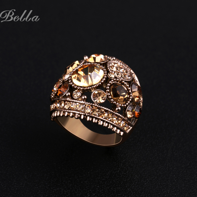 New 2015 Classical Fashion Rings Wholesale Vintage Luxurious Women Colorful Jewelry Rhinestones Ring Bague Bijouterie(KA0001)(China (Mainland))