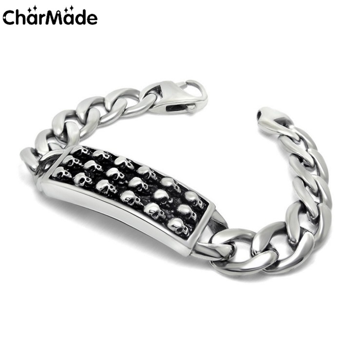 Mens 316L stainless steel Polished pirate skull ID curb link chain bracelet Personalized Couple bracelets 8.5 inch CharMade B328(China (Mainland))
