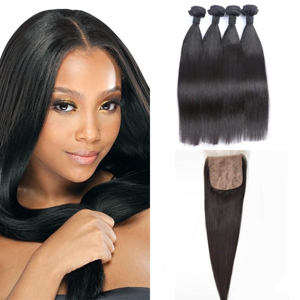 Brazilian virgin straight 4bundles/pcs human hair weft with 1pcs silk base closure 4*4 natural black color brizilian weft<br><br>Aliexpress