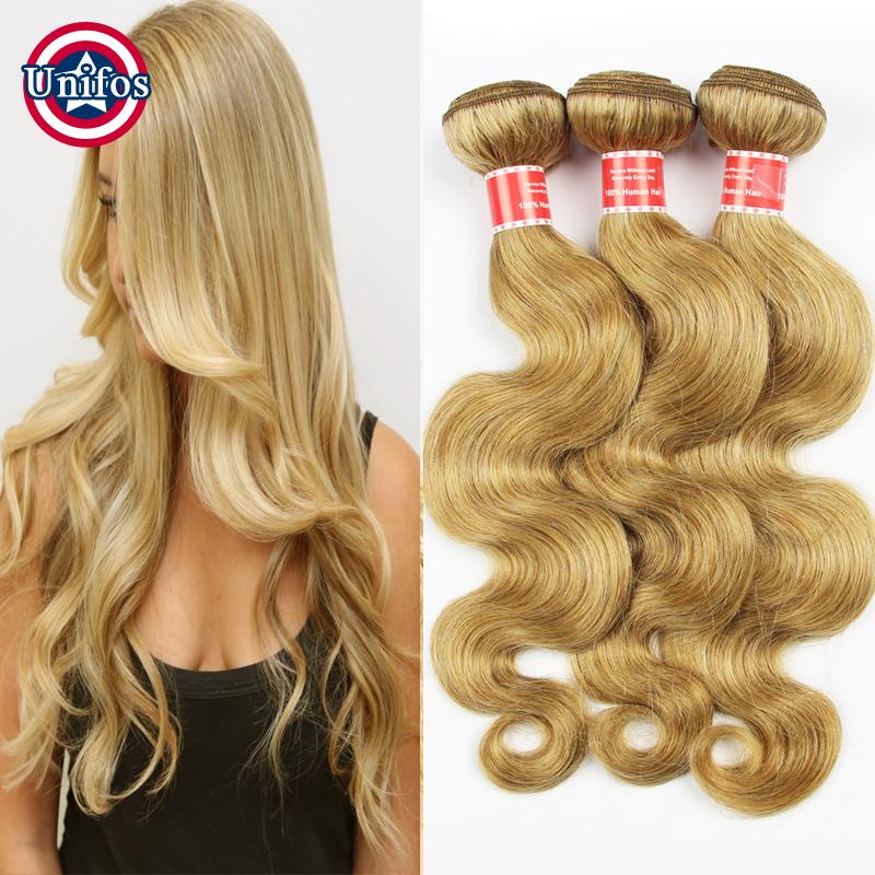 Honey Blonde Brazilian Hair Weave Bundles Blonde Human Hair Extensions Brazilian Blonde Virgin Hair Body Wave Color 27# 3 pcs(China (Mainland))