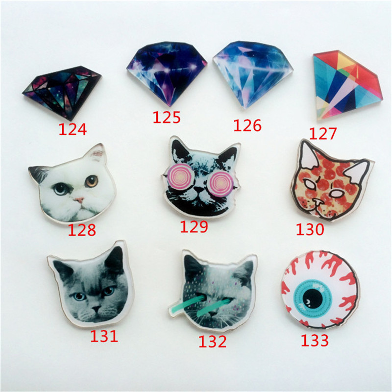 (MIN MIX ORDER IS $5)Acrylic HARAJUKU Badge alien cat Brooches Pin Up Collar Tips Cartoon Enamel Christmas Gifts ab45(China (Mainland))