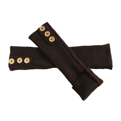 Женщины зима пуговица вязать гетры длинная загрузки обувь крышка чулок 5DXA