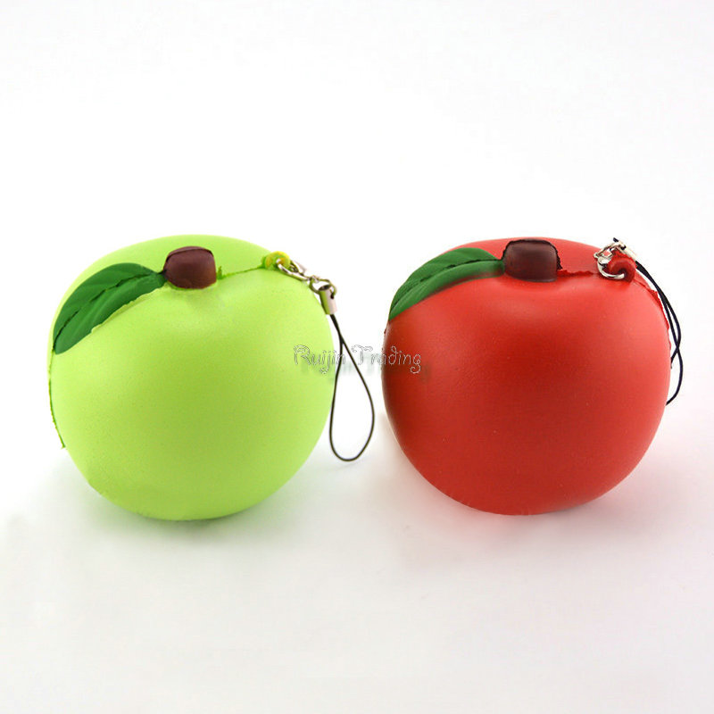 Slow Rising Squishy Squeeze Straps For Cellphone Apple Red Green Pendant Bread Kids Toy Stretchy Gift Cute Phone Straps Charms(China (Mainland))