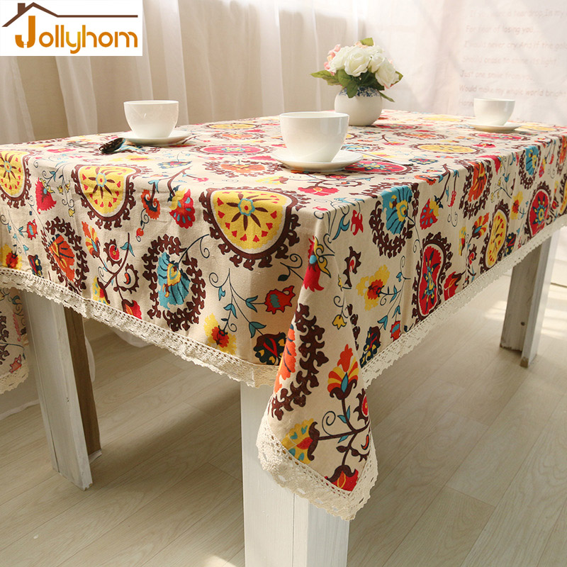 Ethnic Style Sunflower Tablecloth 70''/78''/86'' Rectangular High-grade Character table cover cotton Machinery wash Custom size(China (Mainland))
