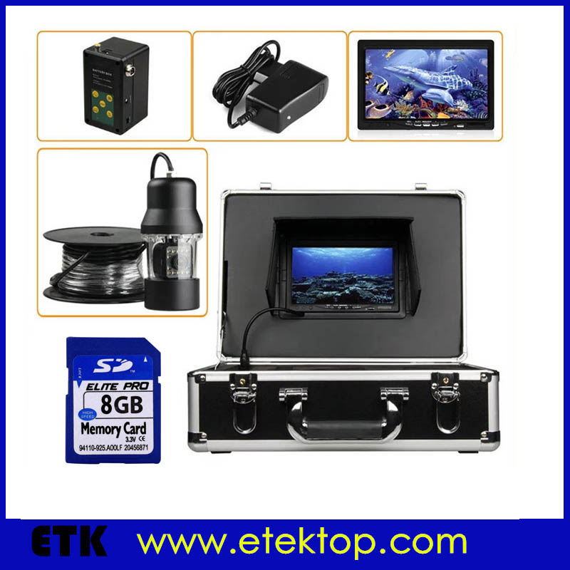 """7""""TFT LCD 50m Cable Fishing Camera 360 Degree Rotation View Underwater Video Camera CCD Camera Lights Controller(China (Mainland))"""