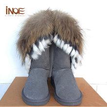 Tamaño grande 34-44 Del Muslo Botas de Punta Redonda Botas de Invierno de Cuero Genuino gris Real de Piel de Zorro de la Nieve Mujer Botas Zapatos Planos de Las Mujeres de la Señora(China (Mainland))