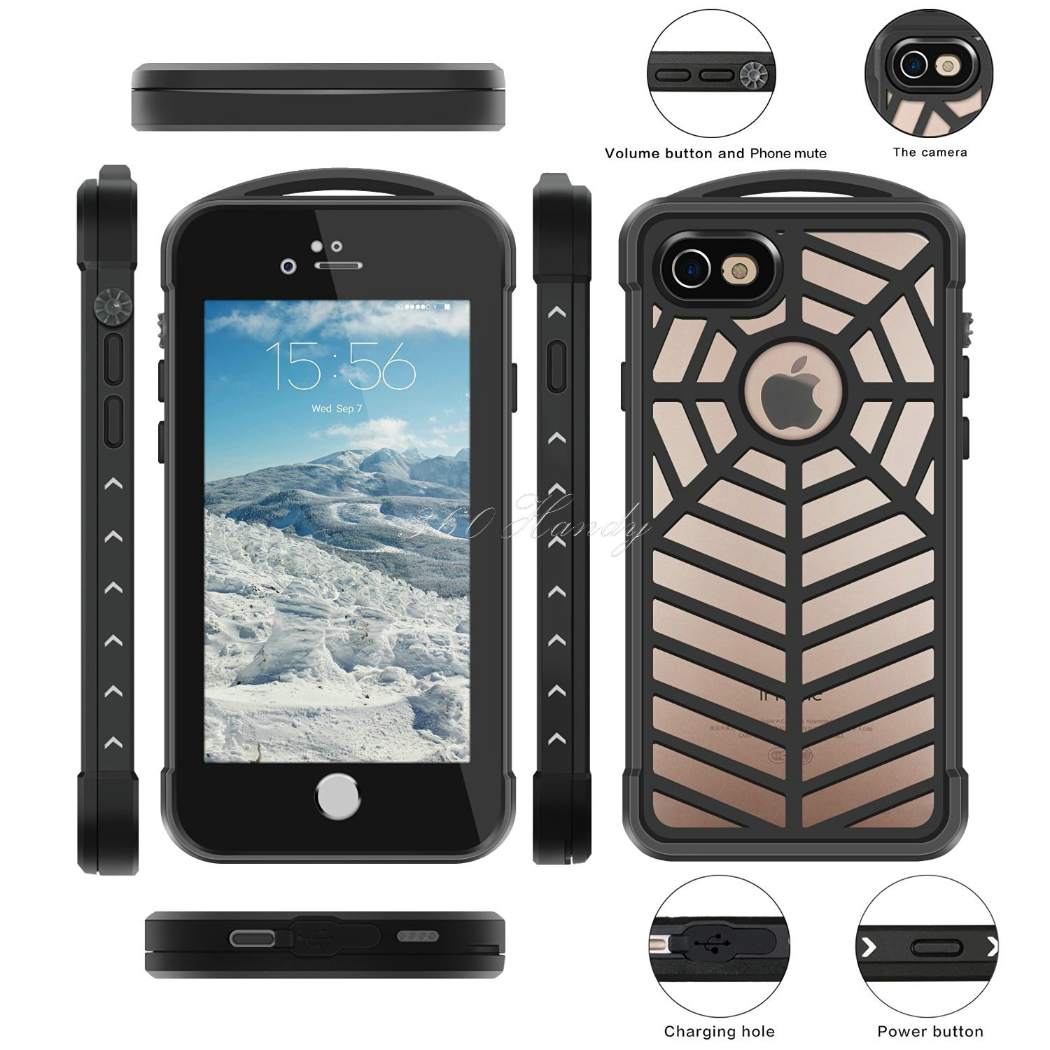 Heavy Duty Hybrid Dual Hard Rubber PC Rugged Case For iPhone 7 Luxury Shockproof Waterproof Spider Protective Cover(China (Mainland))