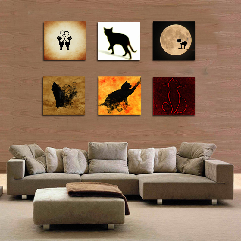 6 panel cat wall painting decoration animal wall art home decor wall picture for living room Home decor stores utah county