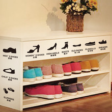 Shoes Classification Wall Decal Shoes Shelves Rack Decor Mural Poster Women Child Old Shoes Sneaker Slipper Boots Stickers(China (Mainland))