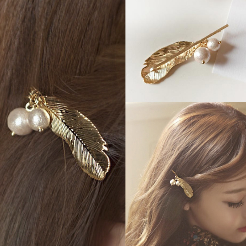1 PC New Fashion Hair Accessories Alloy Crystal Leaf Hair Clip Hairpins for Girls(China (Mainland))