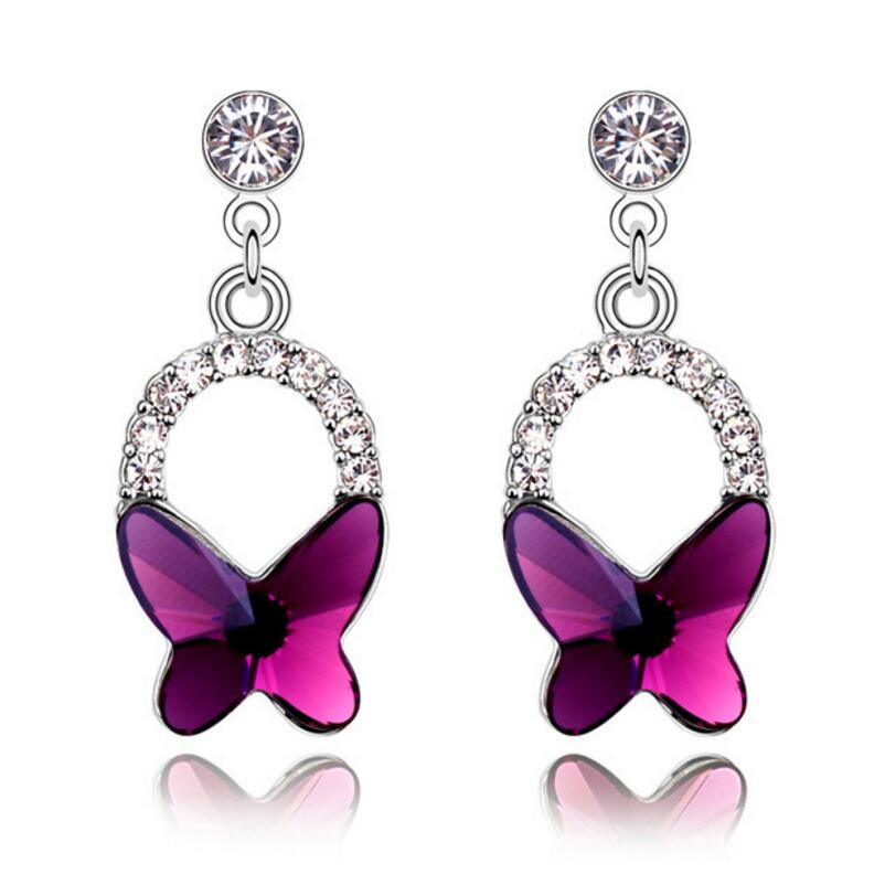 Classic Insect Austria Crystal Earring Fashion Brand Butterfly Stud Earrings For Women Silver Plated Jewelry Christmas Gifts(China (Mainland))