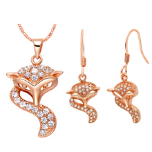 Wholesale Rose Gold Or 925 Sterling Silver Women Fashion Wedding Party Set Jewelry Crystal Fox Shape Necklace Earring(China (Mainland))
