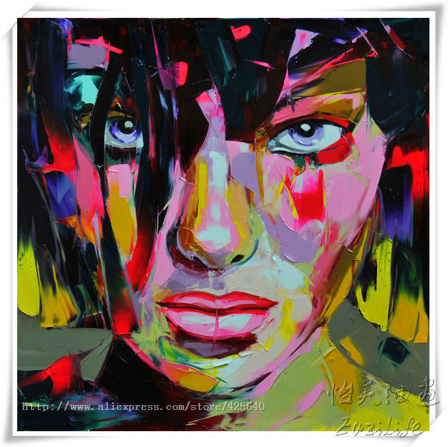 Buy Palette knife painting portrait Palette knife Face Oil painting Impasto figure on canvas Hand painted Francoise Nielly Girl Face cheap
