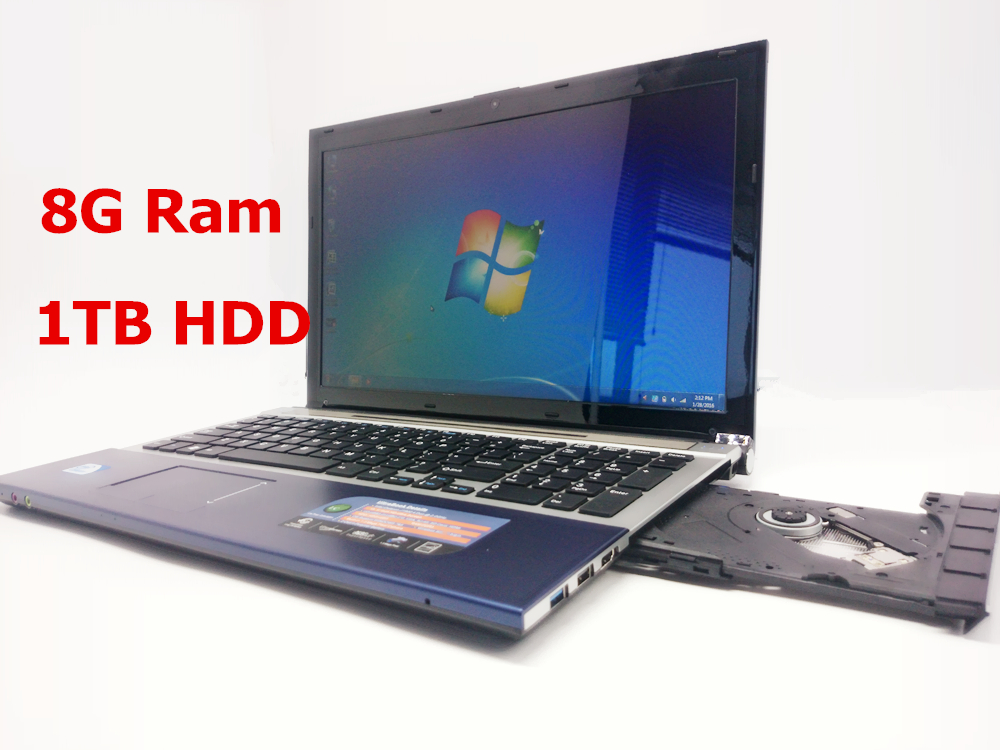 15 inch gaming laptop notebook computer wtih DVD 8GB DDR3 1TB HDD in-tel J1900 2.0Ghz quad core WIFI webcam HDMI(China (Mainland))