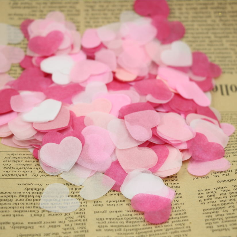 10g/bag Pink Red White Heart Paper Confetti Valentine Day Decor Shop Home Wall Decor(China (Mainland))