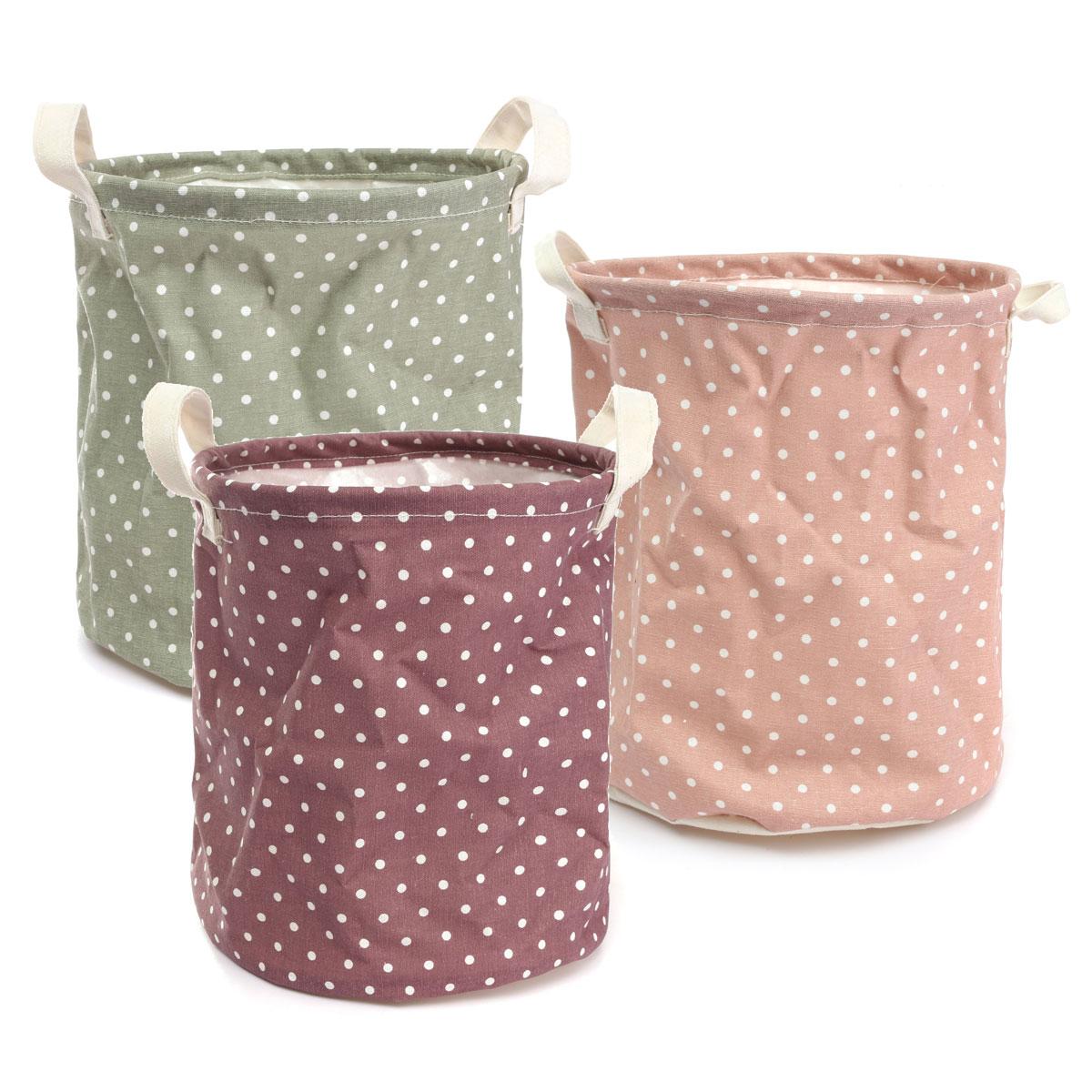 Novelty Cotton Linen Storage Barrels Laundry Basket Candy Colors Dot Hamper Dirty Clothes Basket Organizer Bucket 23x26cm(China (Mainland))