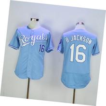 Mens Flexbase/Coolbase 16 Bo Jackson Color Royal Blue Gray White High Quality Throwback Baseball Jerseys SIZE M-3XL(China (Mainland))