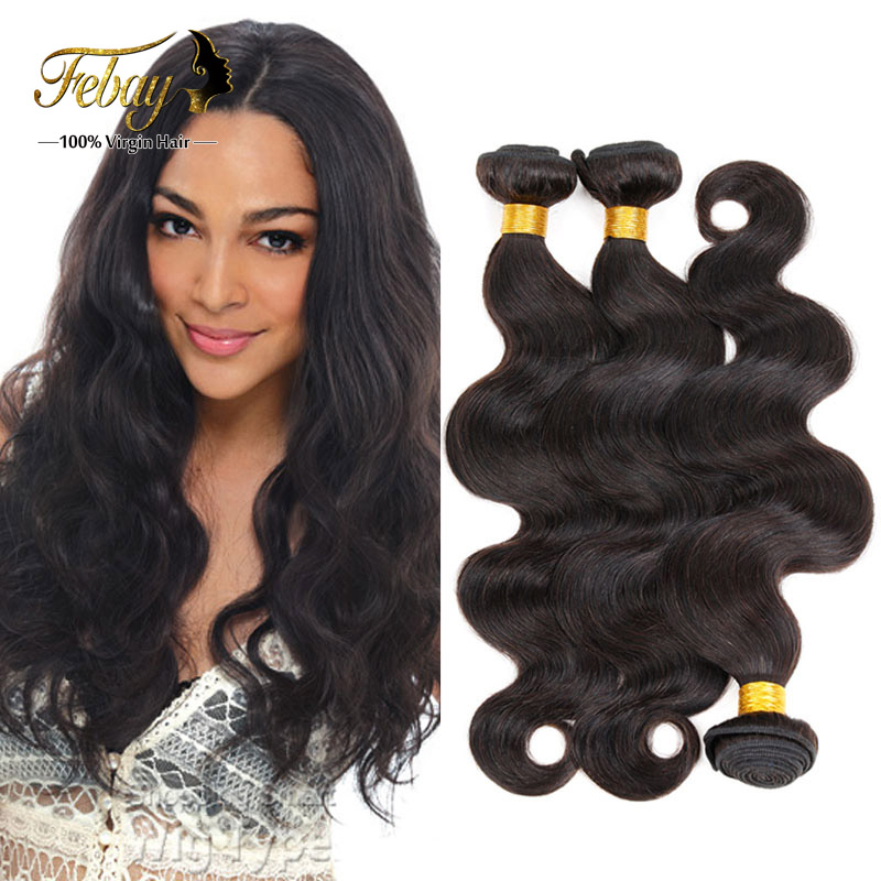 2015 New Arrival Virgin  Malaysia Human Hair Bundles Body Wave Natural Black Xuchang Febay Sexy Hair Weave Body Wave 3 Pcs/ 300g от Aliexpress INT