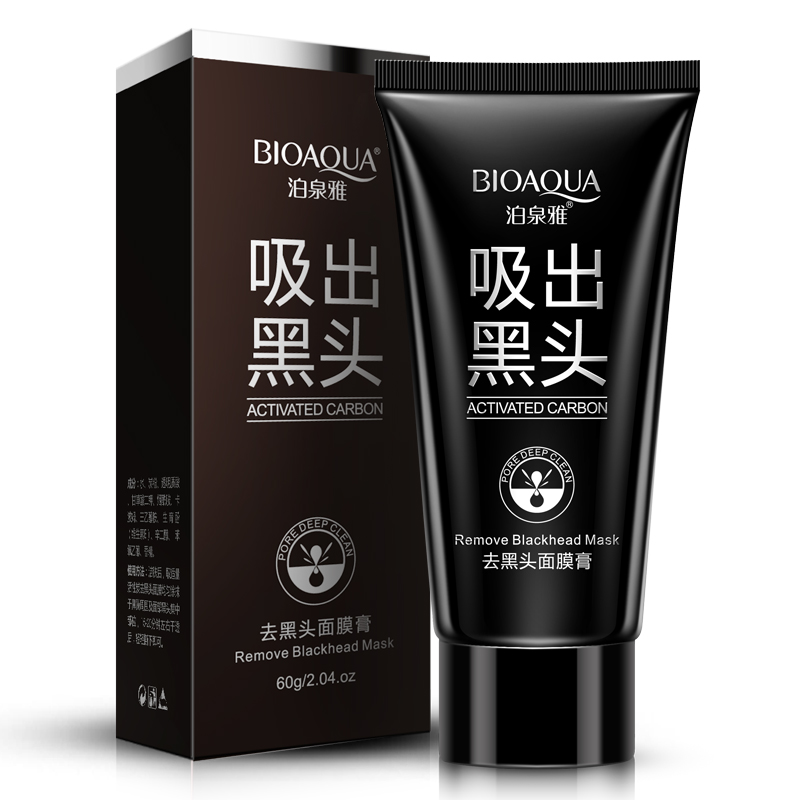 Hot selling!!BIOAQUA 60g Facial washable suction Black mask clay nose blackheads remover anti-acne treatment peel off face care(China (Mainland))