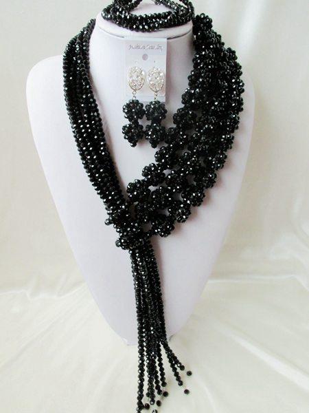 NEW nigerian wedding Black african beads jewelry Set Crystal beads bride jewelry set  R-1853<br><br>Aliexpress