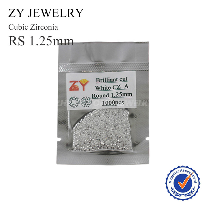 1.25mm Round Brilliant Cut White Synthetic Cubic Zirconia Gemstone(China (Mainland))