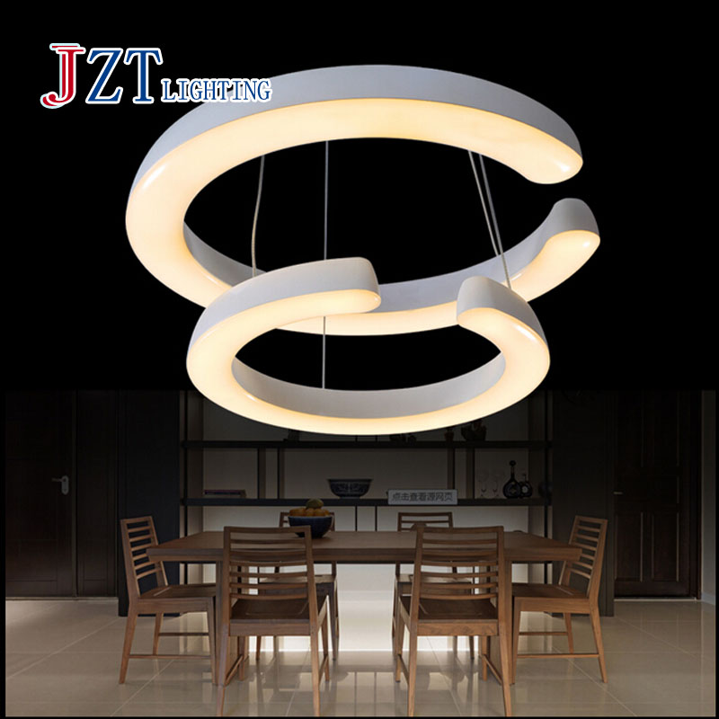 T Best price Modern Creative Two Circular Ring Pendant Lights Simple Acrylic Fashion Light For Bar Restaurant Coffee Shop(China (Mainland))