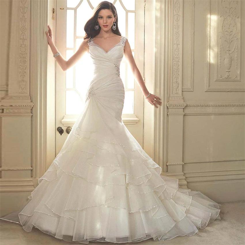 White organza mermaid wedding dress 2016 open back big for Big white wedding dresses
