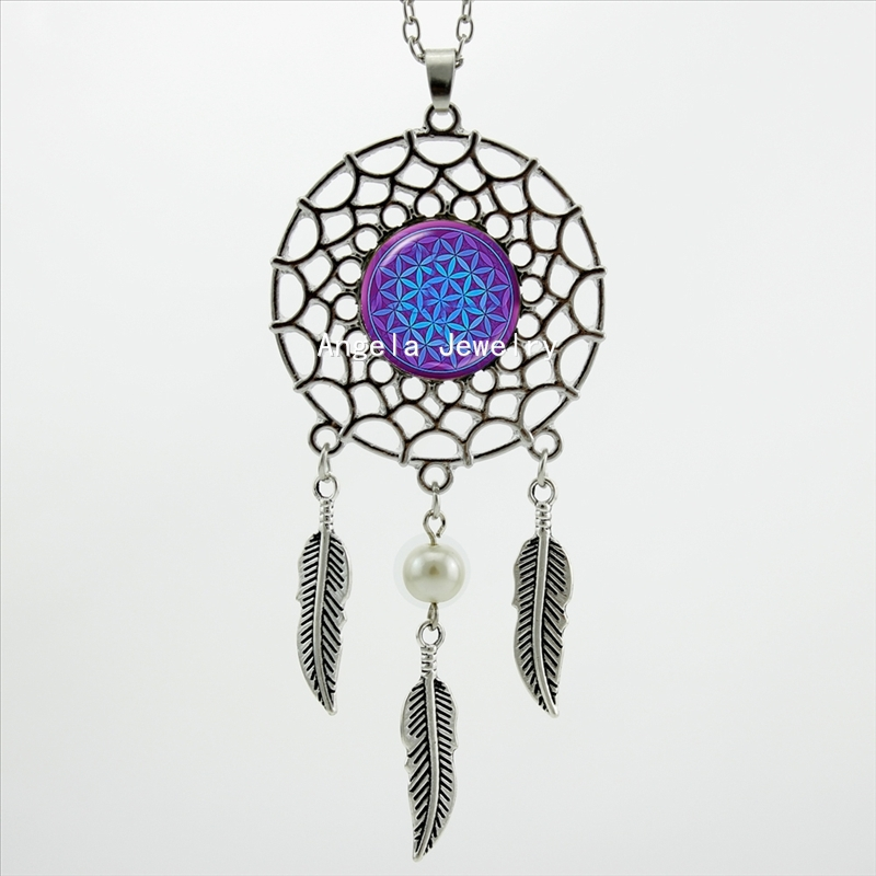 2016 Trendy Style Dreamcatcher Pendant Purple Blue Om Necklace Flower of Life Jewelry Dream Catcher Necklace DC-00157(China (Mainland))