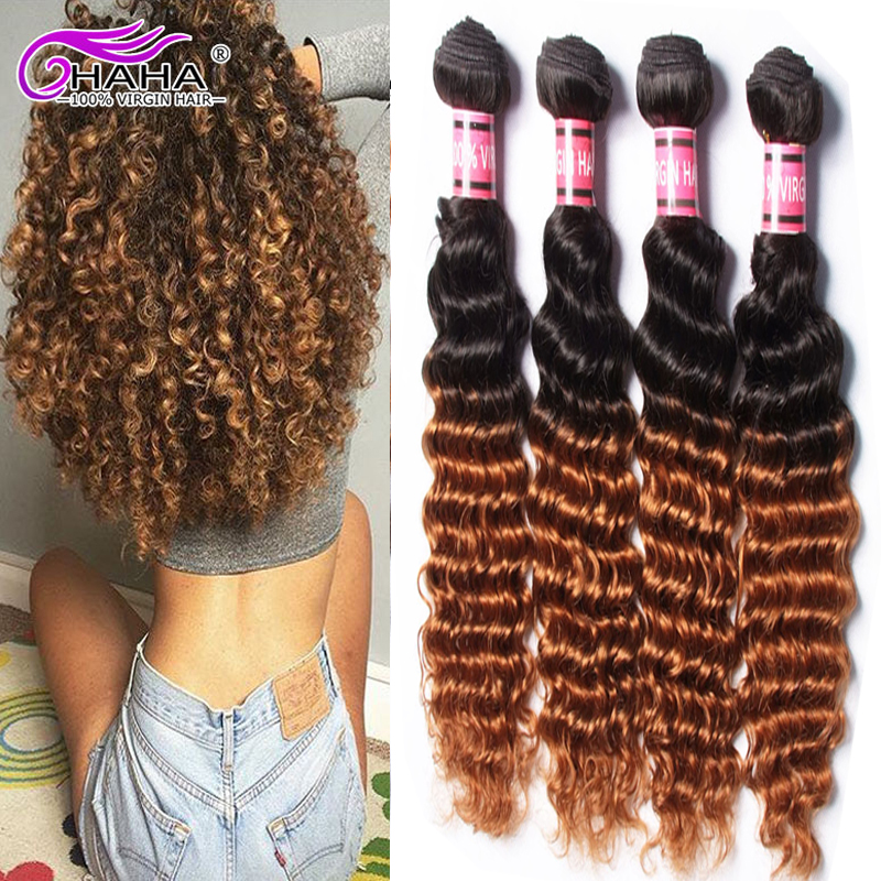 7a Grade Peruvian Deep Curly Wave 4 Bundles Virgin Unprocessed Ombre HaHa Beauty Human Hair Deep Wave Bundle Deals 1B 30<br><br>Aliexpress