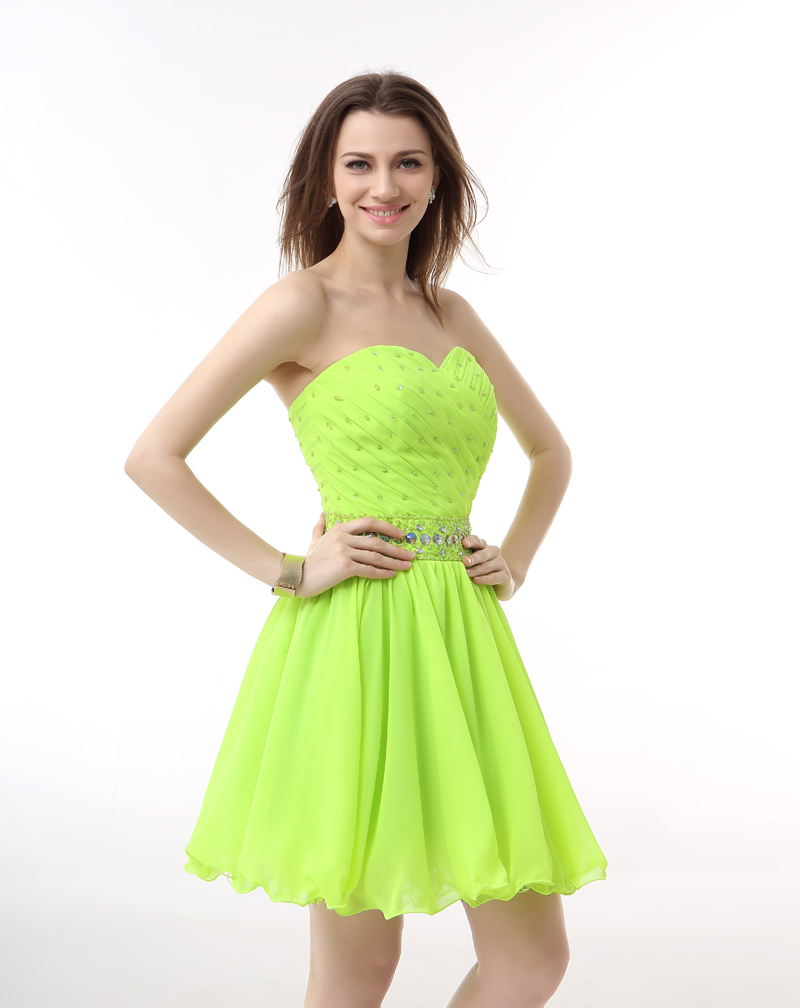 Chiffon Lime Green Prom Dress Promotion-Shop for Promotional ...