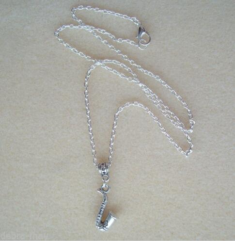 Fashion Jewelry Retro Music Saxophone Jazz Music Blues Statement Collar Chain Pendant Necklace Jewelry For Women Gift 10Pcs/lot(China (Mainland))