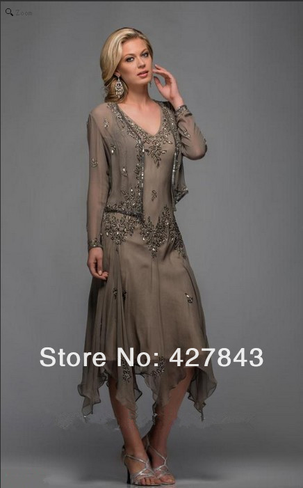 1-Wholesale V-neck Applique Beading Hunter Green Chiffon Tea Length Mother of the Bride Dresses with Jacket