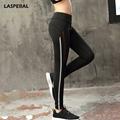 LASPERAL Women Yoga Pants Black Bottom White Striped Patchwork Hollow Breathable Soft Sport Leggings Women Gym