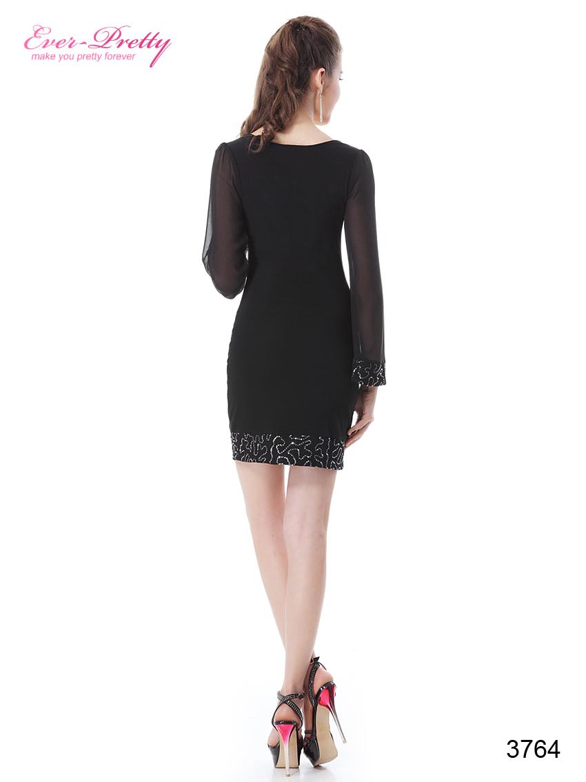He03764bk бесплатная доставка черный новый осень зима мода с длинным рукавом совок шею блестками короткий ну вечеринку платье 2015 пром платье