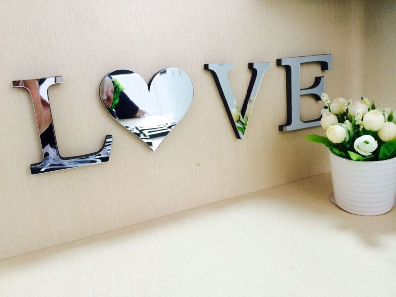 10cmx8cmx1.2cm(thick) wedding love letters Home decoration English 3D Acrylic mirror wall Stickers Alphabet Home Decor For wall(China (Mainland))