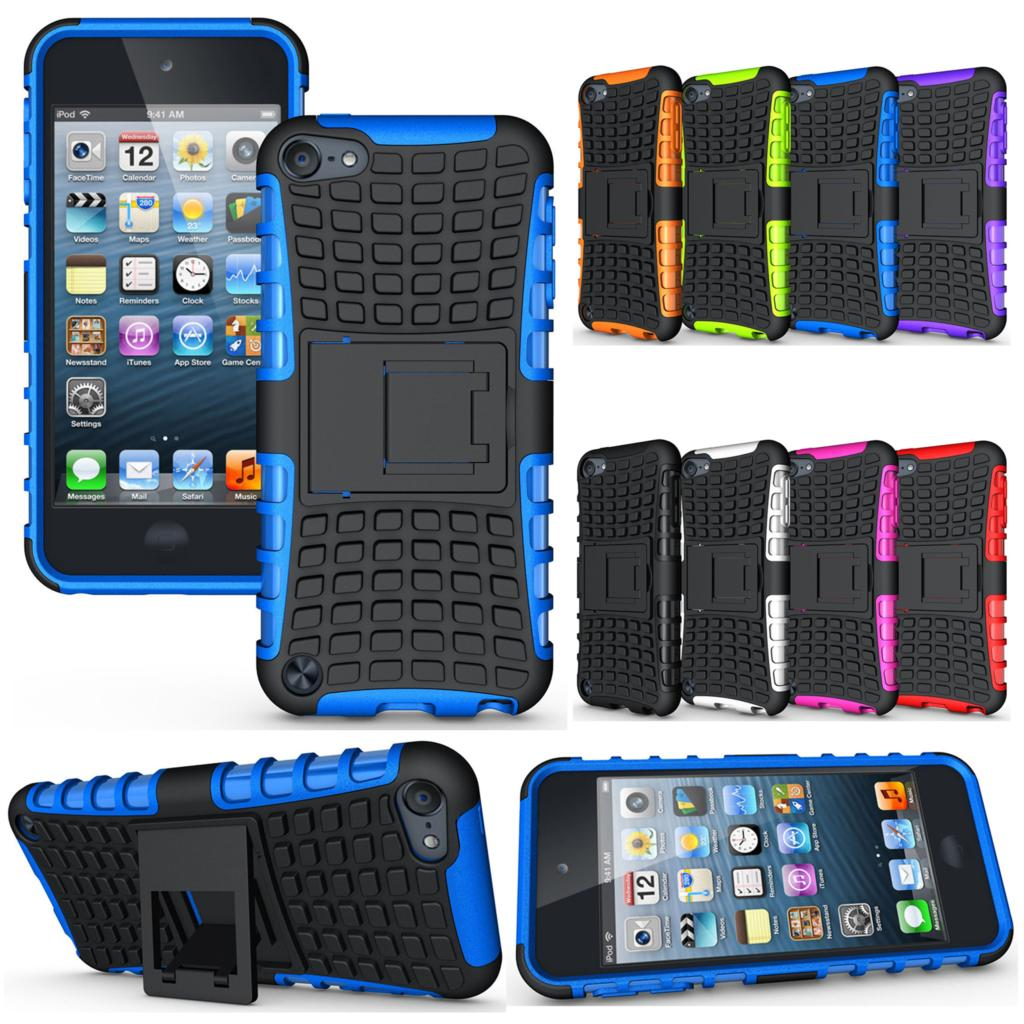 Cell Phone Case Protective Back Cover Durable Shockproof Rubber Armor Kickstand Hard Stand For Apple iPod Touch 5 Touch 6(China (Mainland))