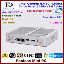 Fanless desktop pc windows 10 OS Intel Celeron N3150 Quad Core mini computer HDMI LAN WiFi