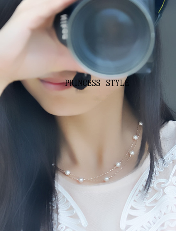Top Quality Real 18K Gold plated Sweetly Double Level Simulated Pearl Necklace/ Fashion Cheap Pearl Necklace