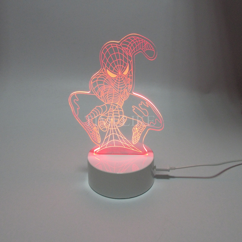 3D Led Table Lamp Acrylic Night Lights USB Plastic Base 7Colors Light Changing Xmas Holiday Gift(China (Mainland))