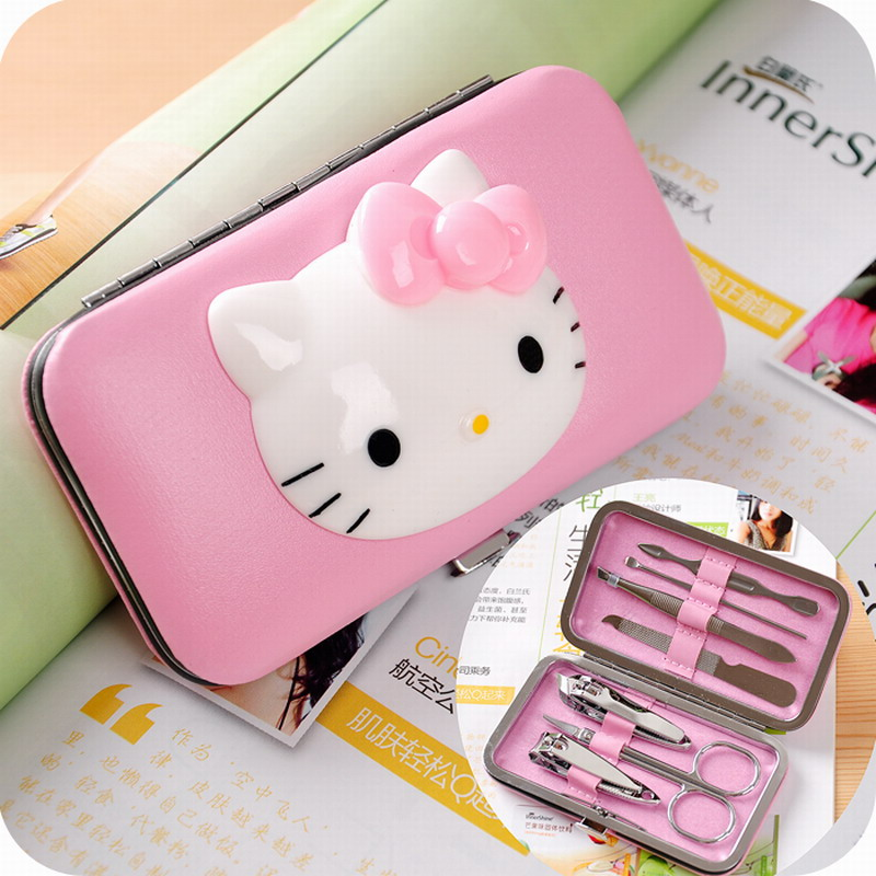 Hello Kitty 7 in1 Pedicure Nipper Cutter Nail Clipper Stainless Manicure Set Kit(China (Mainland))