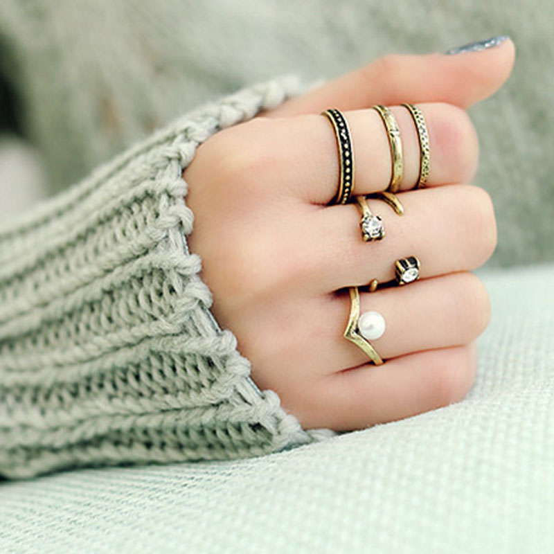 3PCS/Set Antique Silver Antique Gold Punk Style Vintage Wide Rings Midi Mid Finger Knuckle Ring Set for Ladies(China (Mainland))