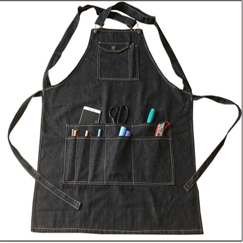 New Fashion black Cotton Denim Apron Funny Cooking Work Aprons With Pockets Strap For Men Women Barber Cafe Restaurant Unisex L(China (Mainland))