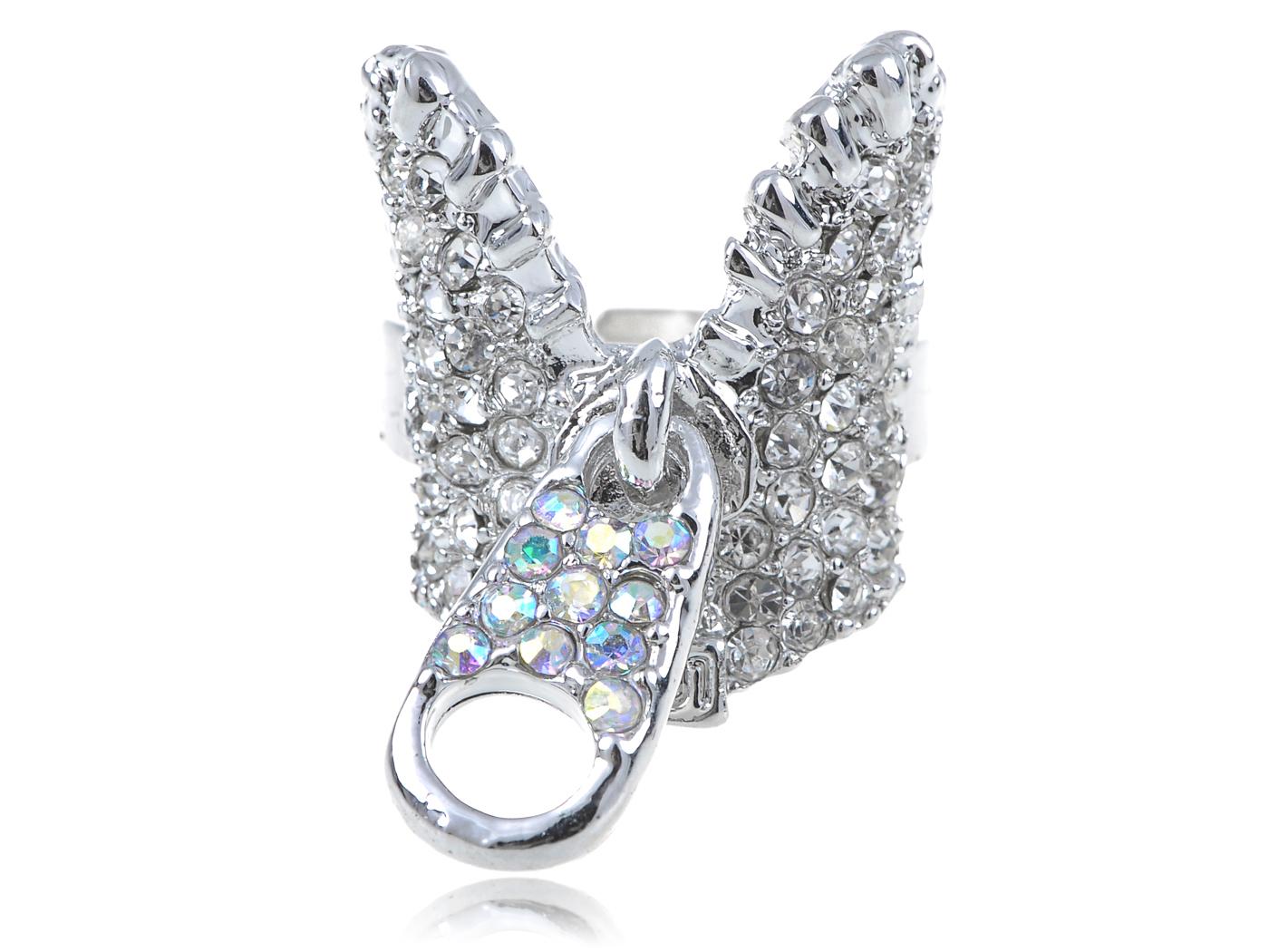 Silver Tone Aurora Borealis Rhinestone Fashion Zipper w Pull Tab Statement Ring(China (Mainland))