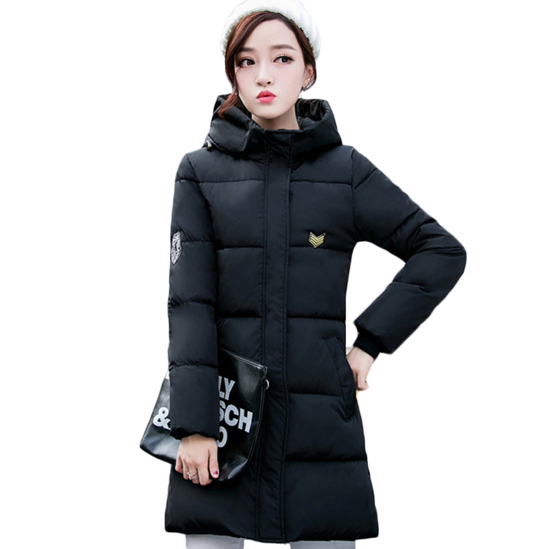 Hot Sale Large Size 2016 Winter New Simple Cotton Padded Jacket Coat Women Parkas Thick Hooded Padded Long Coat Female LH409(China (Mainland))