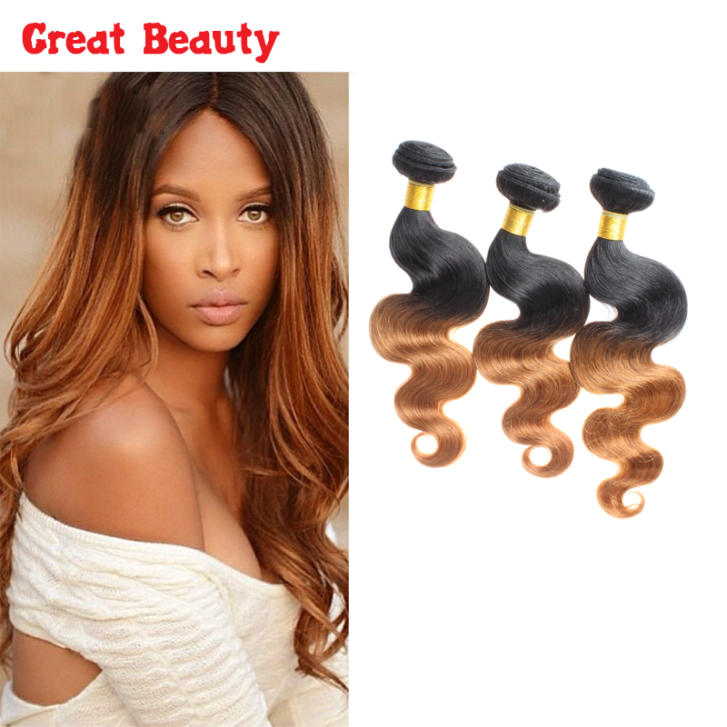 100% Peruvian Virgin Hair Body Wave Ombre Hair Extensions Two Tone 1B30 3Pcs Ombre Virgin Human Hair Weave 10-30Inch<br><br>Aliexpress