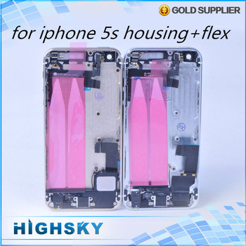 1 piece free HK post with flex cable side home buttons card tray new for iphone 5s housing cover rear battery back door