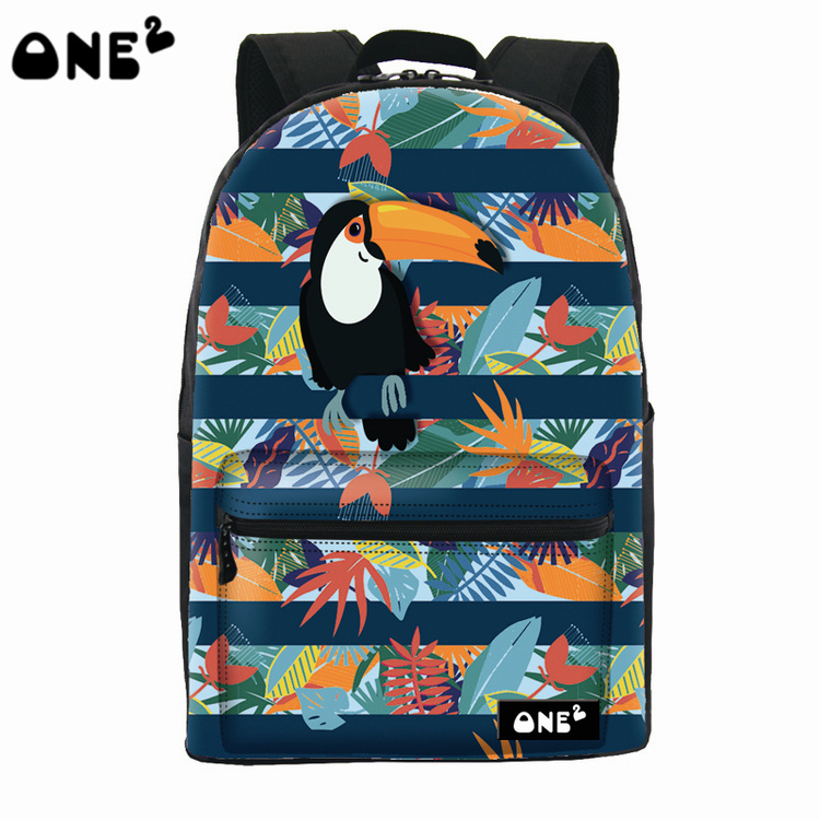 2016 ONE2 Design cute parrot pattern custom printed school bag fashion women backpack outdoor brand names eminent laptop bag(China (Mainland))